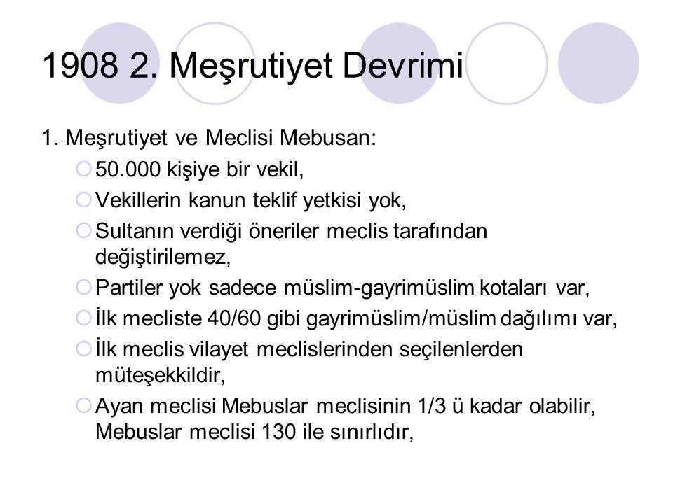 1908 2. Meşrutiyet Devrimi 1. Meşrutiyet ve Meclisi Mebusan:  50.000 kişiye bir vekil,  Vekillerin kanun teklif yetkisi yok,  Sultanın verdiği öner