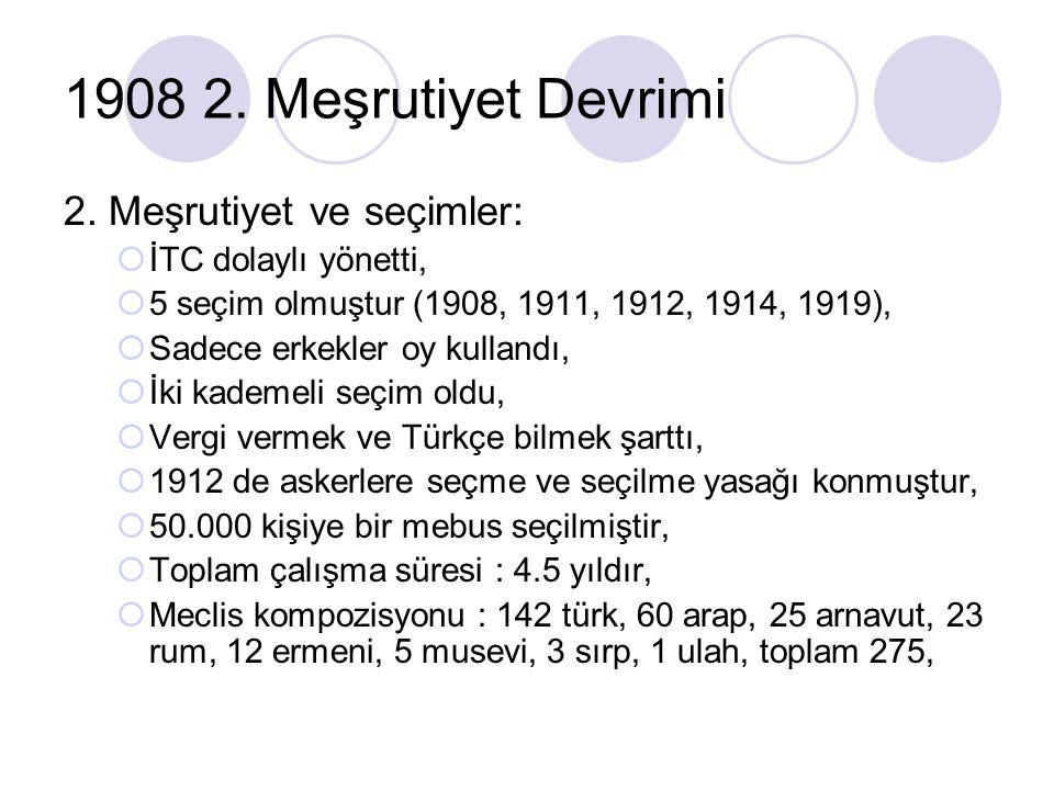1908 2. Meşrutiyet Devrimi 2. Meşrutiyet ve seçimler:  İTC dolaylı yönetti,  5 seçim olmuştur (1908, 1911, 1912, 1914, 1919),  Sadece erkekler oy k
