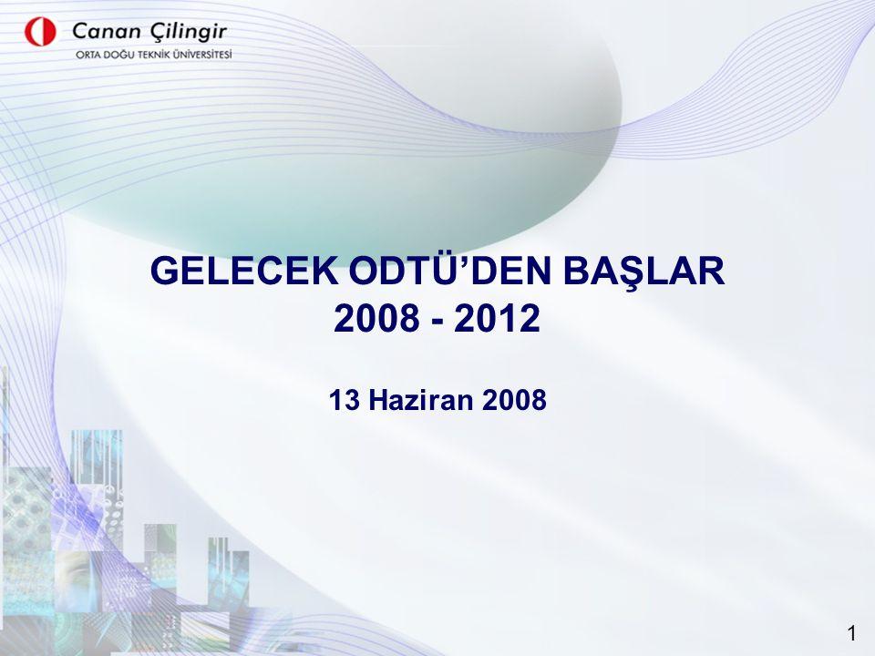 GELECEK ODTÜ'DEN BAŞLAR 2008 - 2012 13 Haziran 2008 1