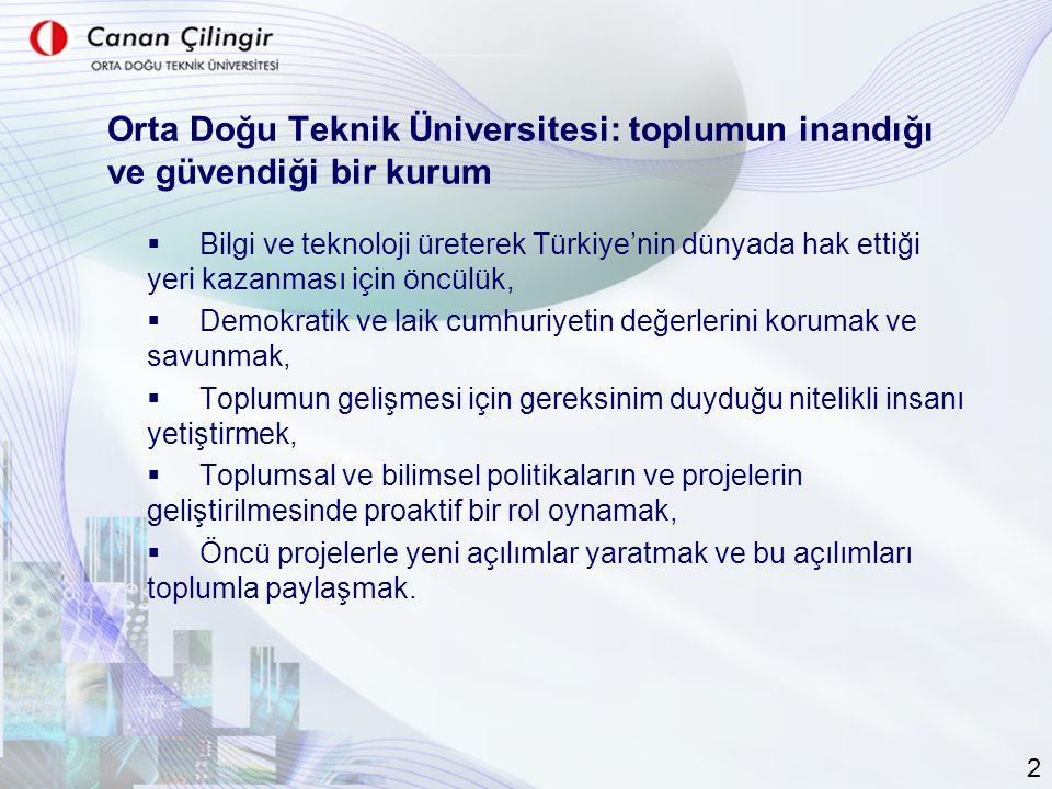 Orta Doğu Teknik Üniversitesi: toplumun inandığı ve güvendiği bir kurum  Bilgi ve teknoloji üreterek Türkiye'nin dünyada hak ettiği yeri kazanması için öncülük,  Demokratik ve laik cumhuriyetin değerlerini korumak ve savunmak,  Toplumun gelişmesi için gereksinim duyduğu nitelikli insanı yetiştirmek,  Toplumsal ve bilimsel politikaların ve projelerin geliştirilmesinde proaktif bir rol oynamak,  Öncü projelerle yeni açılımlar yaratmak ve bu açılımları toplumla paylaşmak.