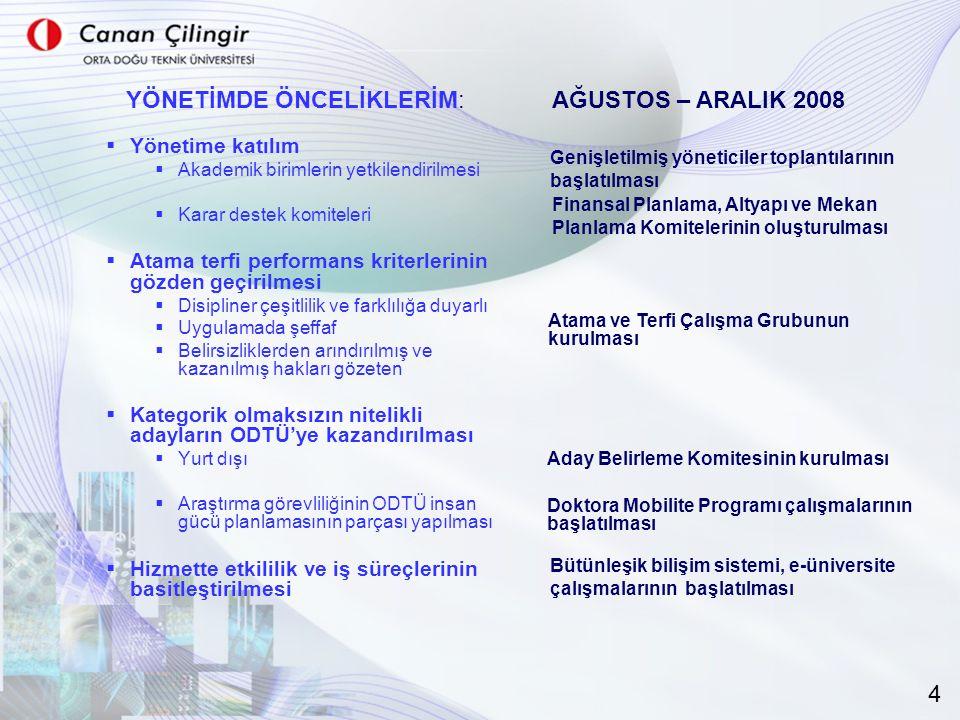  Yönetime katılım  Akademik birimlerin yetkilendirilmesi  Karar destek komiteleri  Atama terfi performans kriterlerinin gözden geçirilmesi  Disip