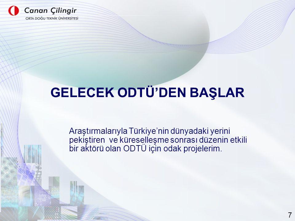 GELECEK ODTÜ'DEN BAŞLAR Araştırmalarıyla Türkiye'nin dünyadaki yerini pekiştiren ve küreselleşme sonrası düzenin etkili bir aktörü olan ODTÜ için odak projelerim.