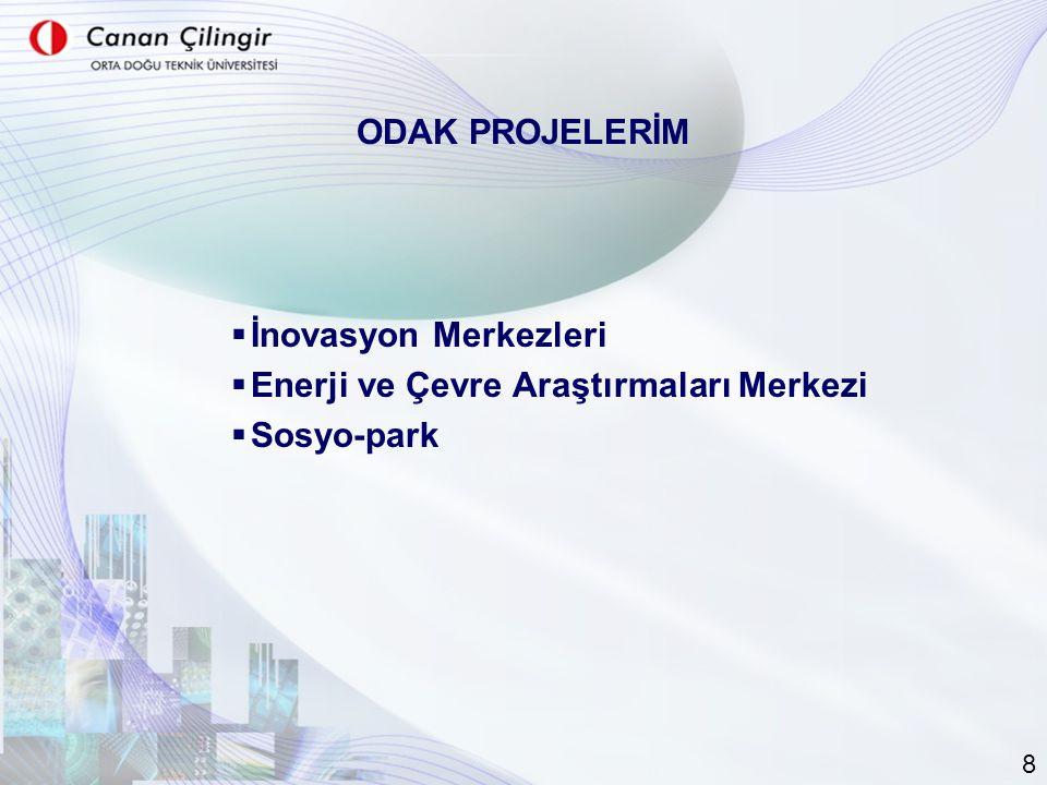  İnovasyon Merkezleri  Enerji ve Çevre Araştırmaları Merkezi  Sosyo-park ODAK PROJELERİM 8