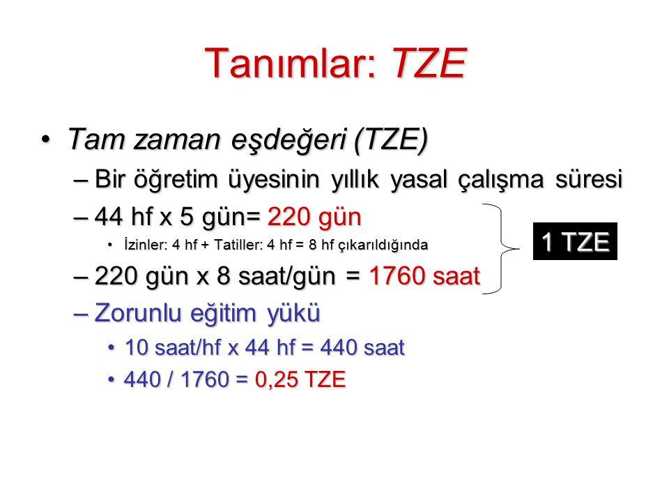 Tanımlar: TZE Tam zaman eşdeğeri (TZE)Tam zaman eşdeğeri (TZE) –Bir öğretim üyesinin yıllık yasal çalışma süresi –44 hf x 5 gün= 220 gün İzinler: 4 hf