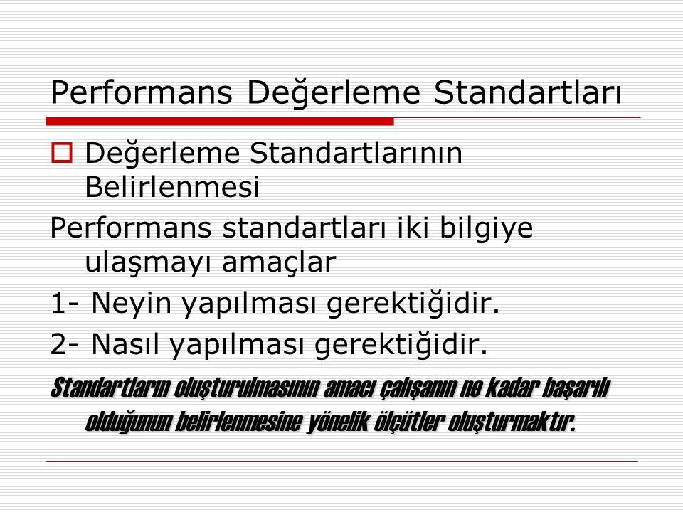 Performans Değerleme Standartları  Değerleme Standartlarının Belirlenmesi Performans standartları iki bilgiye ulaşmayı amaçlar 1- Neyin yapılması ger