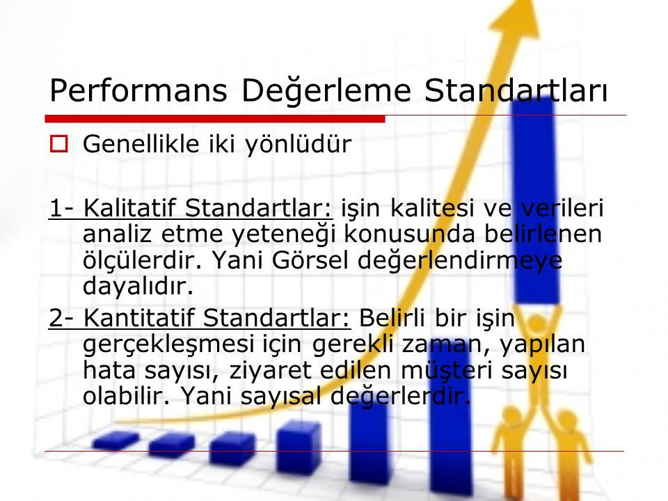 Performans Değerleme Standartları  Genellikle iki yönlüdür 1- Kalitatif Standartlar: işin kalitesi ve verileri analiz etme yeteneği konusunda belirle