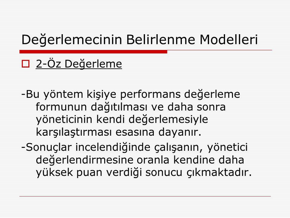 Değerlemecinin Belirlenme Modelleri  2-Öz Değerleme -Bu yöntem kişiye performans değerleme formunun dağıtılması ve daha sonra yöneticinin kendi değer