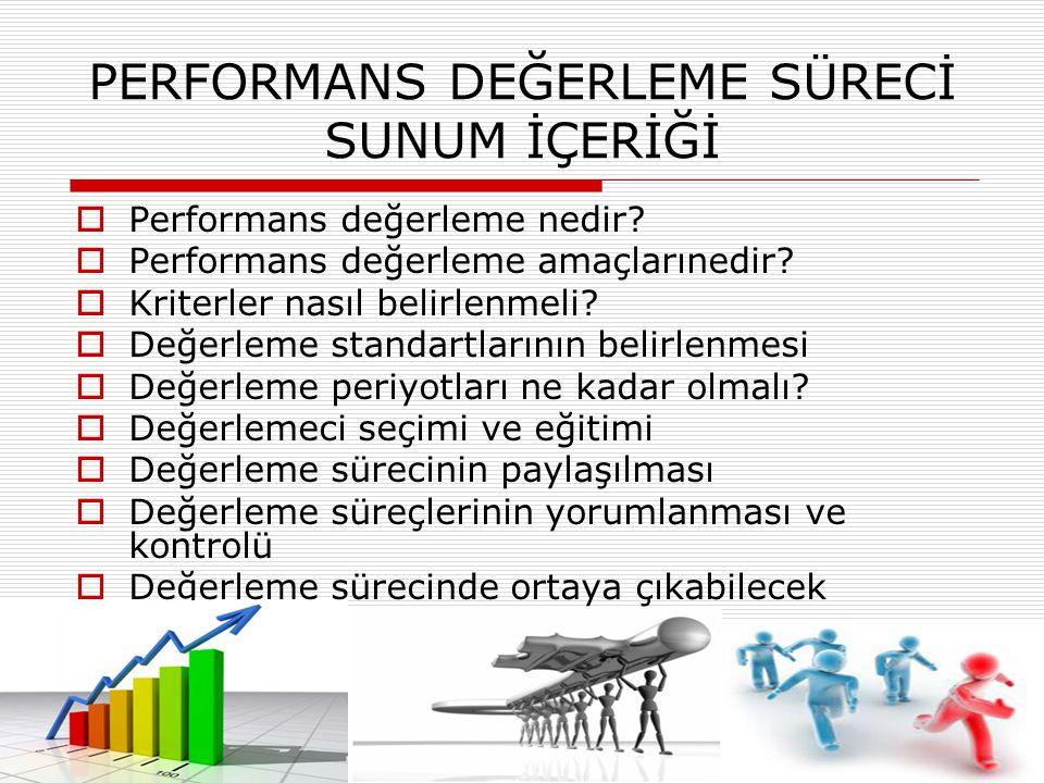 PERFORMANS DEĞERLEME SÜRECİ SUNUM İÇERİĞİ  Performans değerleme nedir?  Performans değerleme amaçlarınedir?  Kriterler nasıl belirlenmeli?  Değerl