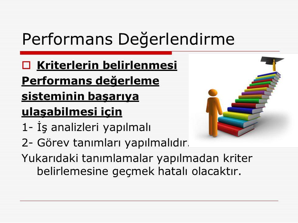 Performans Değerlendirme  Kriterlerin belirlenmesi Performans değerleme sisteminin başarıya ulaşabilmesi için 1- İş analizleri yapılmalı 2- Görev tan