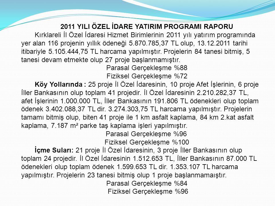 2011 YILI ÖZEL İDARE YATIRIM PROGRAMI RAPORU Kırklareli İl Özel İdaresi Hizmet Birimlerinin 2011 yılı yatırım programında yer alan 116 projenin yıllık