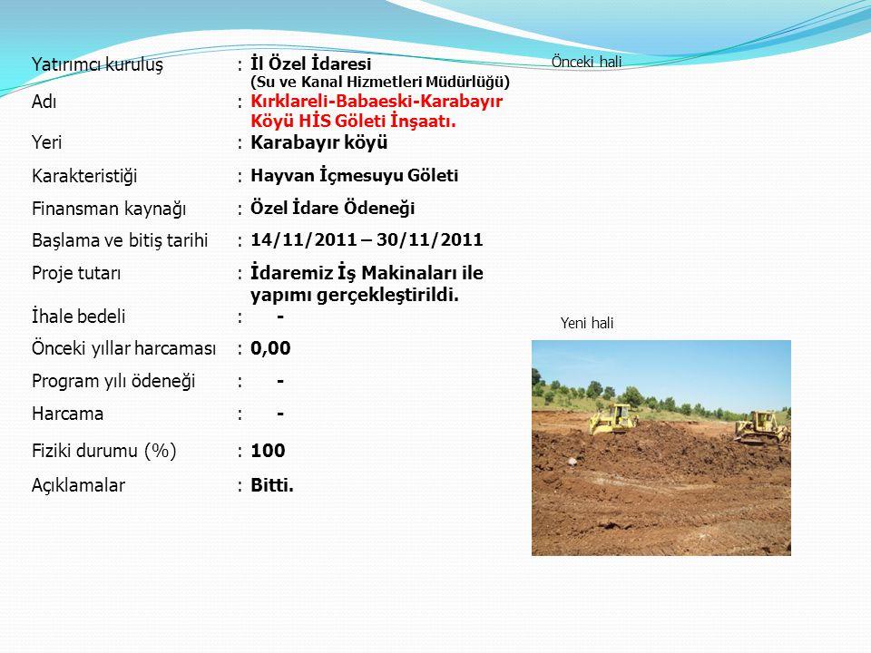 Yatırımcı kuruluş: İl Özel İdaresi (Su ve Kanal Hizmetleri Müdürlüğü) Önceki hali Yeni hali Adı: Kırklareli-Babaeski-Karabayır Köyü HİS Göleti İnşaatı