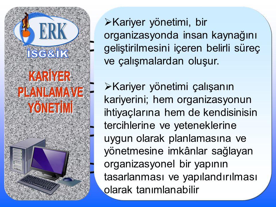  Kariyer yönetimi, bir organizasyonda insan kaynağını geliştirilmesini içeren belirli süreç ve çalışmalardan oluşur.