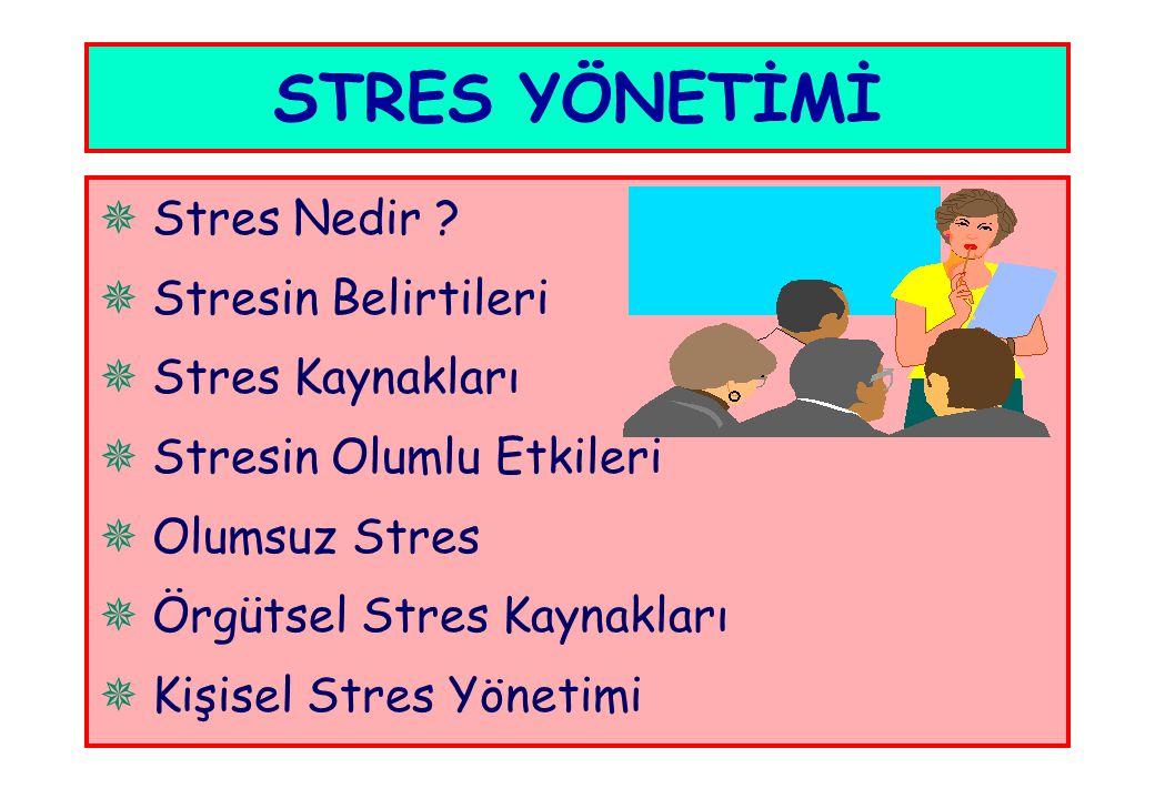  Stres Nedir ?  Stresin Belirtileri  Stres Kaynakları  Stresin Olumlu Etkileri  Olumsuz Stres  Örgütsel Stres Kaynakları  Kişisel Stres Yönetim