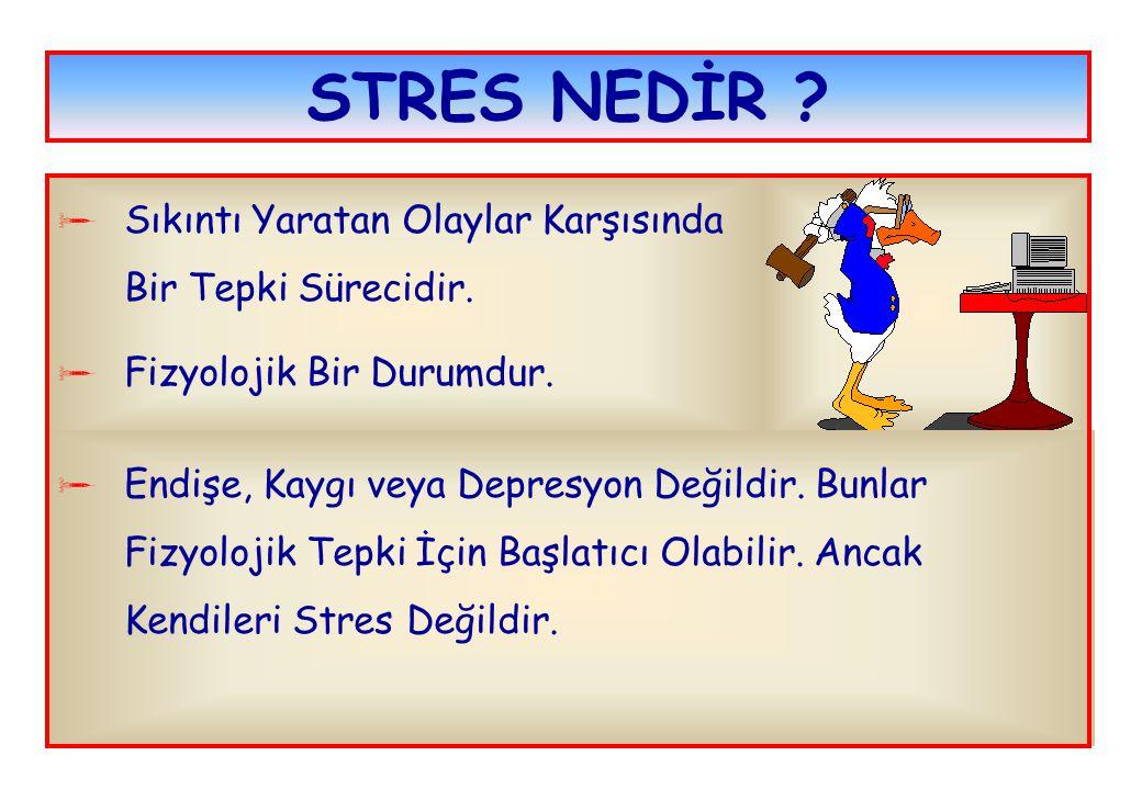 STRES NEDİR ?  Sıkıntı Yaratan Olaylar Karşısında Bir Tepki Sürecidir.  Fizyolojik Bir Durumdur.  Endişe, Kaygı veya Depresyon Değildir. Bunlar Fiz