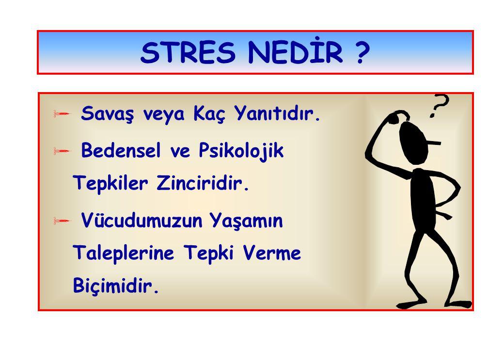 OLUMSUZ STRES  Sağlığımız Etkilenir  Kolay Yorulur ve Sinirleniriz  Enerji ve Güdüde Azalma Olur  Performansımız Olumsuz Etkilenir  Davranışlarımız Genellikle Aleyhimize Değişir