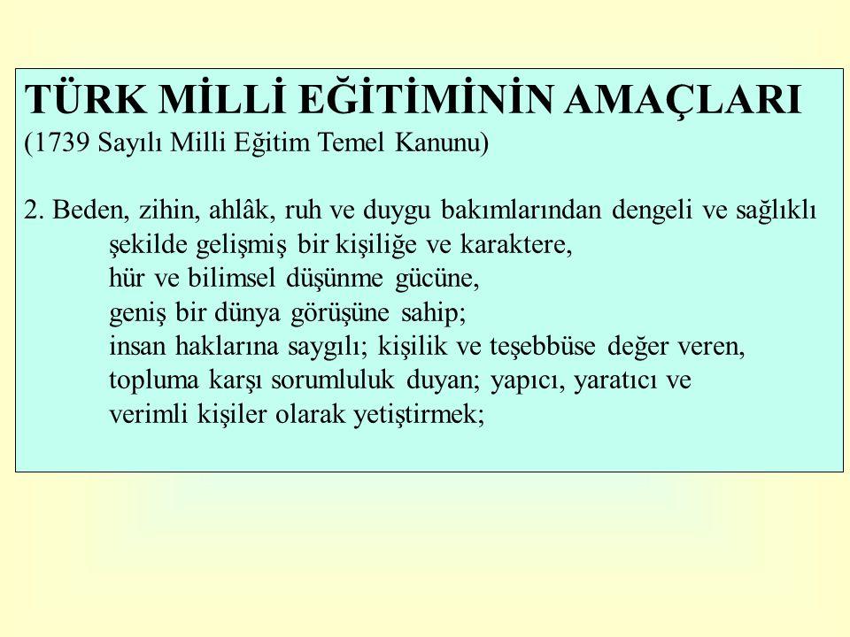 TÜRK MİLLİ EĞİTİMİNİN AMAÇLARI (1739 Sayılı Milli Eğitim Temel Kanunu) 3.