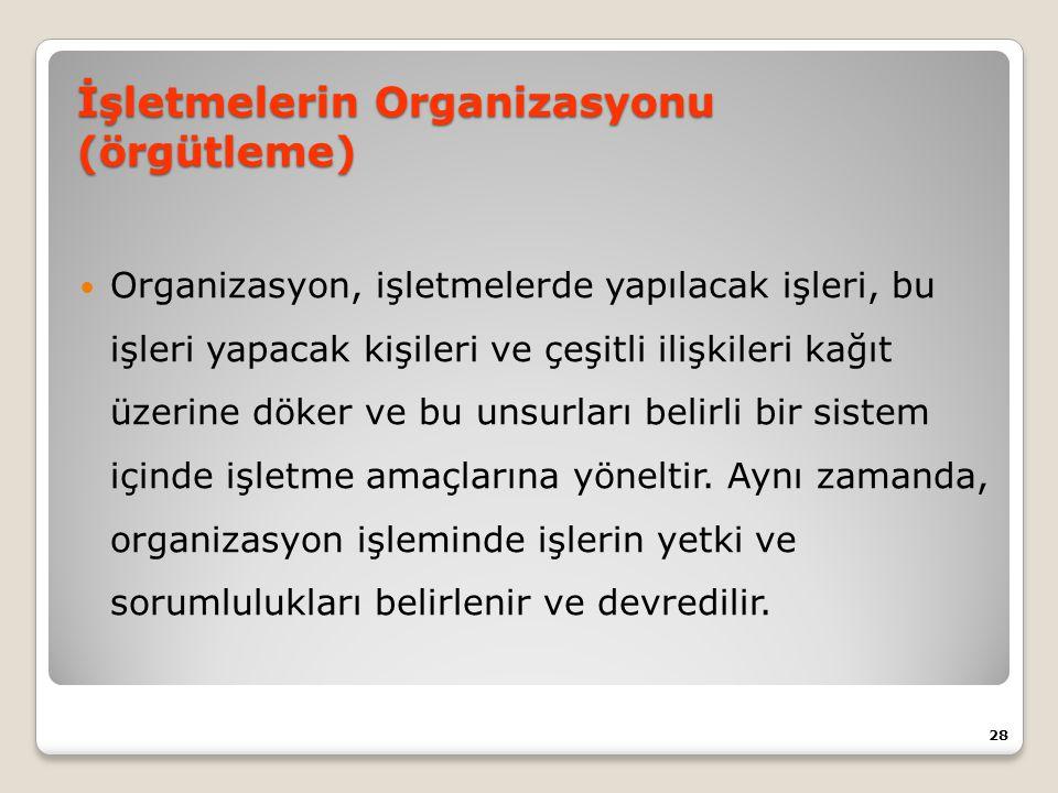 İşletmelerin Organizasyonu (örgütleme) Organizasyon, işletmelerde yapılacak işleri, bu işleri yapacak kişileri ve çeşitli ilişkileri kağıt üzerine döker ve bu unsurları belirli bir sistem içinde işletme amaçlarına yöneltir.