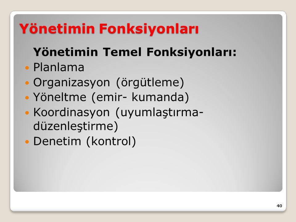 Yönetimin Fonksiyonları Yönetimin Temel Fonksiyonları: Planlama Organizasyon (örgütleme) Yöneltme (emir- kumanda) Koordinasyon (uyumlaştırma- düzenleştirme) Denetim (kontrol) 40