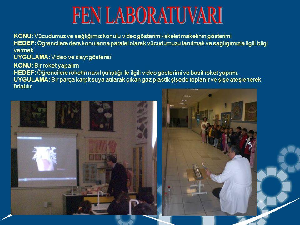 KONU: Vücudumuz ve sağlığımız konulu video gösterimi-iskelet maketinin gösterimi HEDEF: Öğrencilere ders konularına paralel olarak vücudumuzu tanıtmak ve sağlığımızla ilgili bilgi vermek UYGULAMA: Video ve slayt gösterisi KONU: Bir roket yapalım HEDEF: Öğrencilere roketin nasıl çalıştığı ile ilgili video gösterimi ve basit roket yapımı.