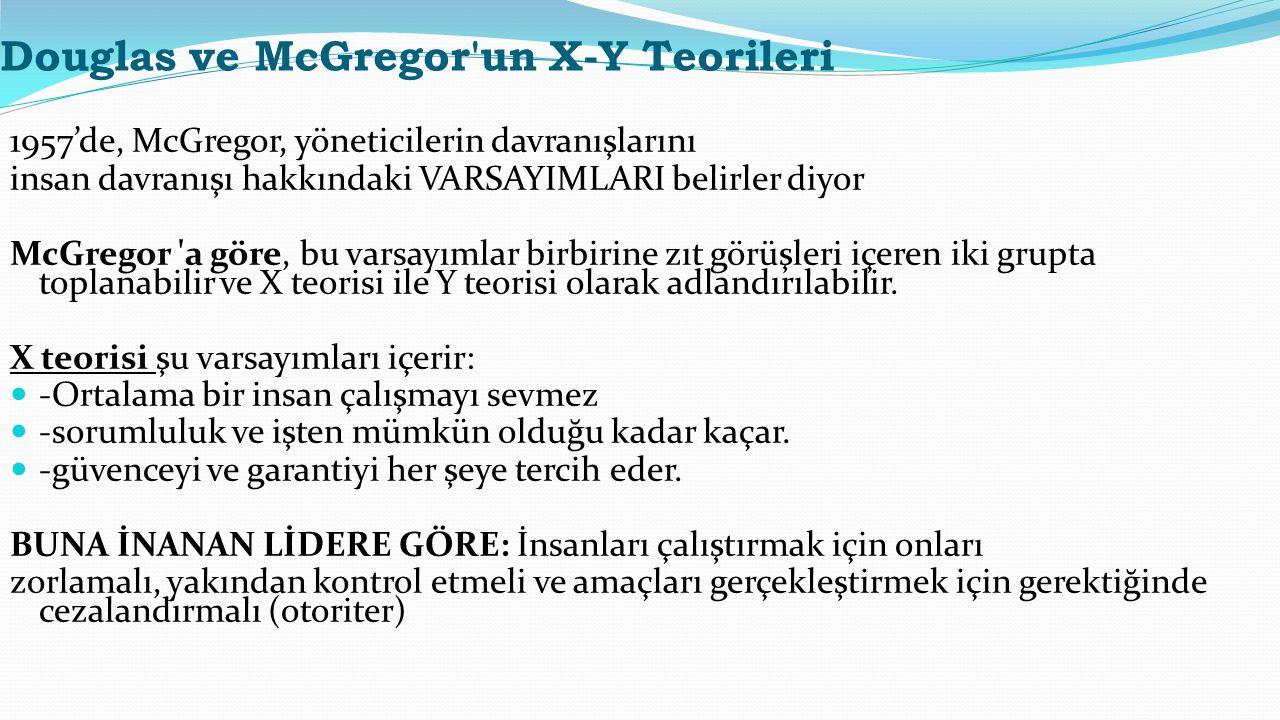 Douglas ve McGregor'un X-Y Teorileri 1957'de, McGregor, yöneticilerin davranışlarını insan davranışı hakkındaki VARSAYIMLARI belirler diyor McGregor '