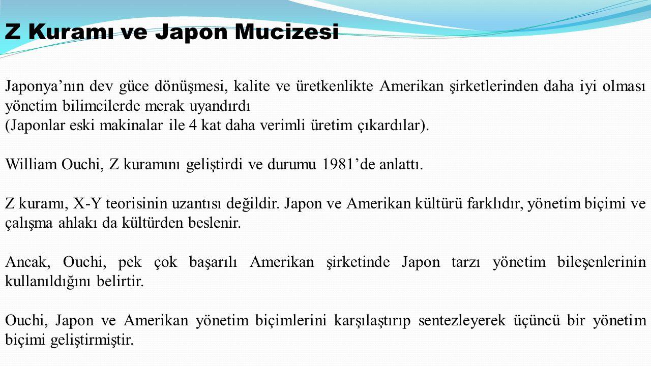 Z Kuramı ve Japon Mucizesi Japonya'nın dev güce dönüşmesi, kalite ve üretkenlikte Amerikan şirketlerinden daha iyi olması yönetim bilimcilerde merak uyandırdı (Japonlar eski makinalar ile 4 kat daha verimli üretim çıkardılar).