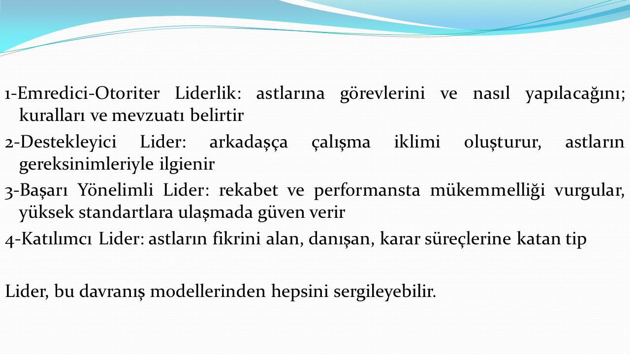 1-Emredici-Otoriter Liderlik: astlarına görevlerini ve nasıl yapılacağını; kuralları ve mevzuatı belirtir 2-Destekleyici Lider: arkadaşça çalışma iklimi oluşturur, astların gereksinimleriyle ilgienir 3-Başarı Yönelimli Lider: rekabet ve performansta mükemmelliği vurgular, yüksek standartlara ulaşmada güven verir 4-Katılımcı Lider: astların fikrini alan, danışan, karar süreçlerine katan tip Lider, bu davranış modellerinden hepsini sergileyebilir.