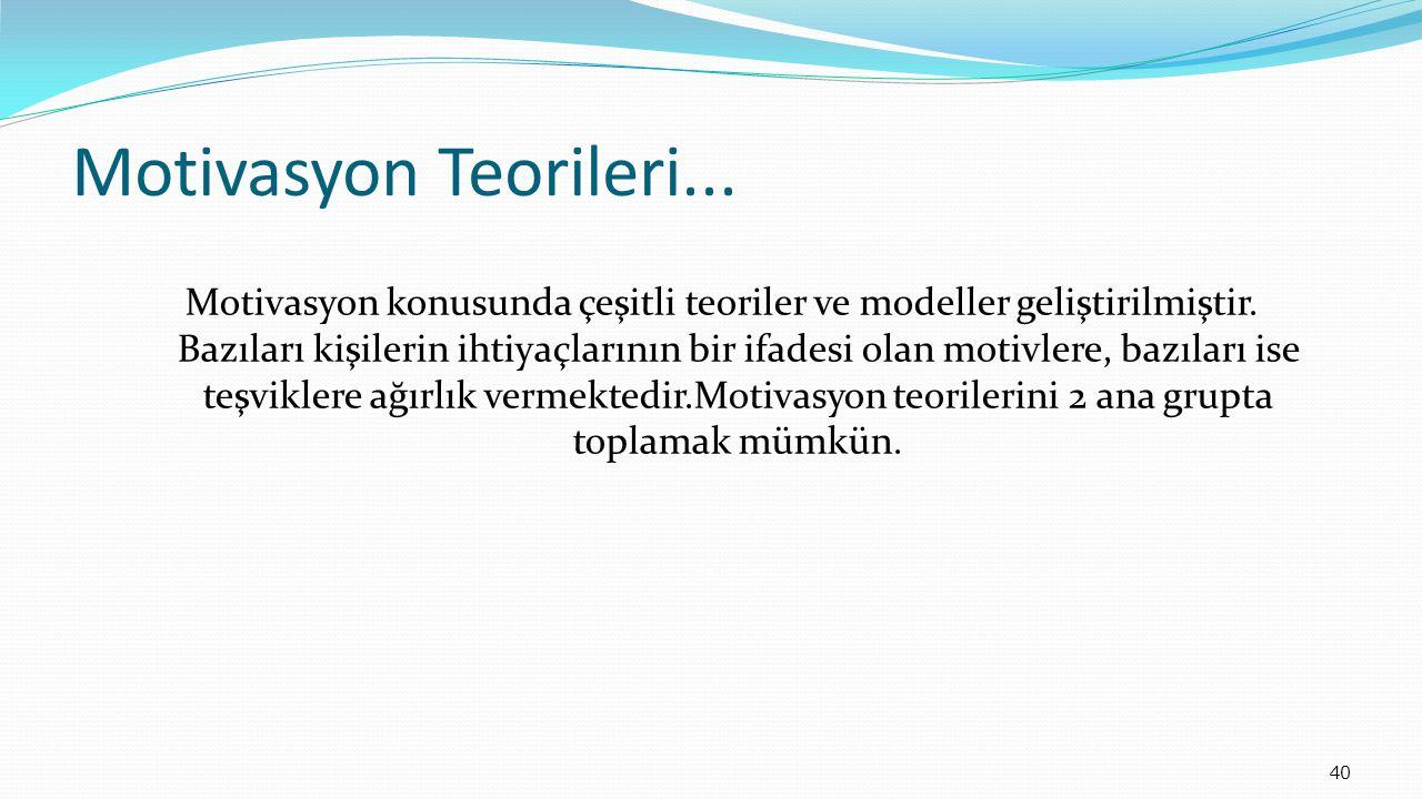 40 Motivasyon Teorileri...Motivasyon konusunda çeşitli teoriler ve modeller geliştirilmiştir.