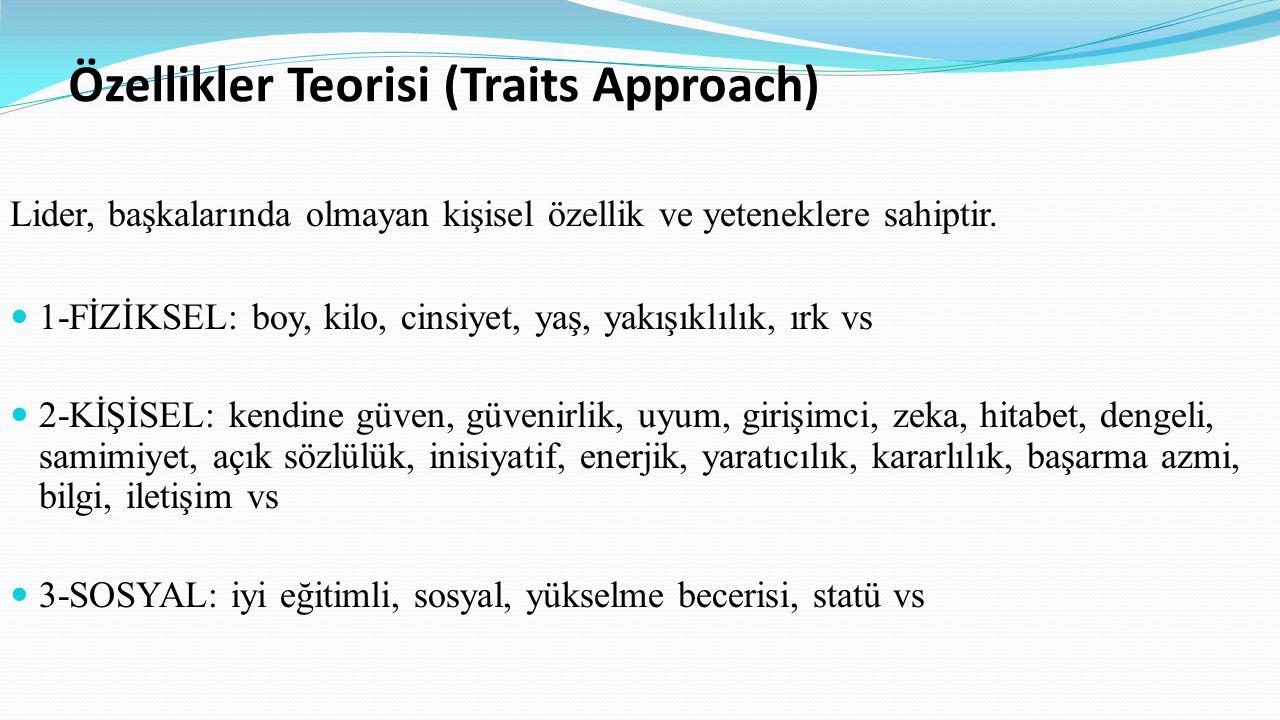 Özellikler Teorisi (Traits Approach) Lider, başkalarında olmayan kişisel özellik ve yeteneklere sahiptir. 1-FİZİKSEL: boy, kilo, cinsiyet, yaş, yakışı