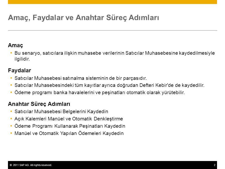 ©2011 SAP AG. All rights reserved.2 Amaç, Faydalar ve Anahtar Süreç Adımları Amaç  Bu senaryo, satıcılara ilişkin muhasebe verilerinin Satıcılar Muha