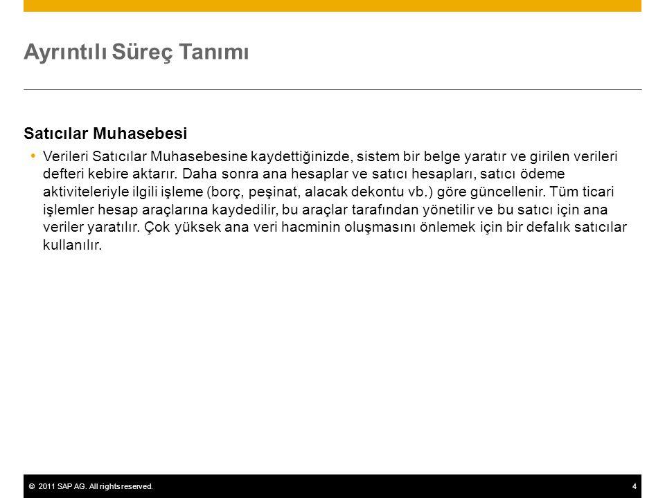 ©2011 SAP AG. All rights reserved.4 Ayrıntılı Süreç Tanımı Satıcılar Muhasebesi  Verileri Satıcılar Muhasebesine kaydettiğinizde, sistem bir belge ya