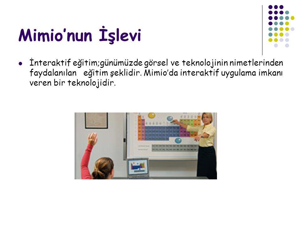 Mimio'nun İşlevi İnteraktif eğitim;günümüzde görsel ve teknolojinin nimetlerinden faydalanılan eğitim şeklidir. Mimio'da interaktif uygulama imkanı ve