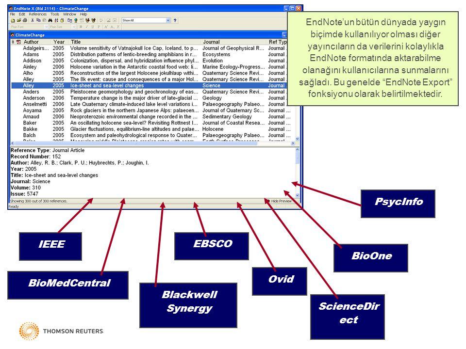 EndNote'un bütün dünyada yaygın biçimde kullanılıyor olması diğer yayıncıların da verilerini kolaylıkla EndNote formatında aktarabilme olanağını kullanıcılarına sunmalarını sağladı.