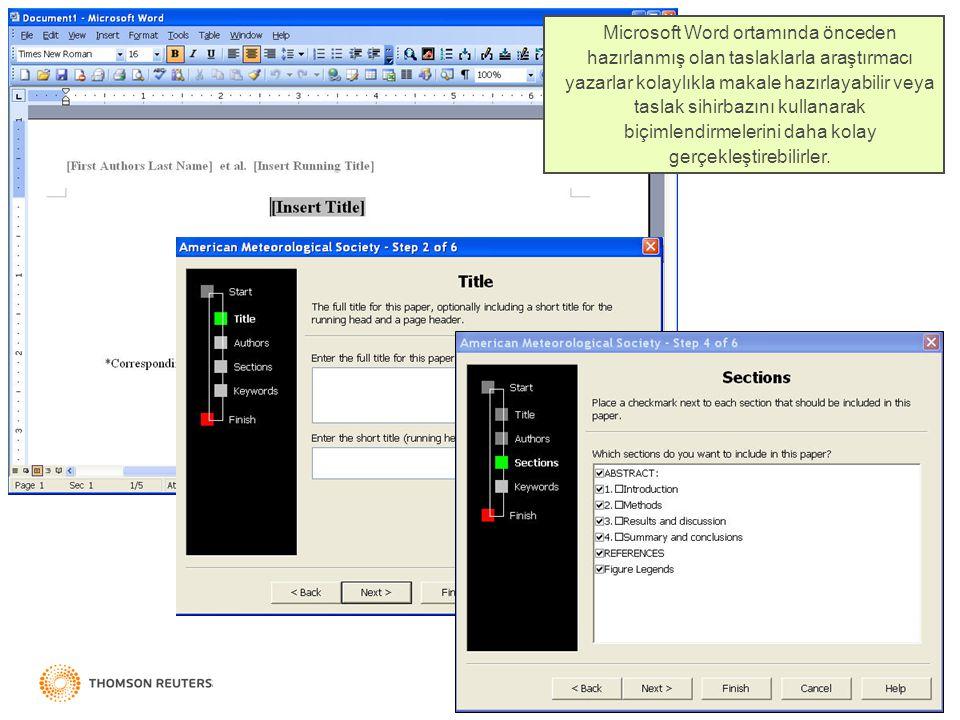Microsoft Word ortamında önceden hazırlanmış olan taslaklarla araştırmacı yazarlar kolaylıkla makale hazırlayabilir veya taslak sihirbazını kullanarak biçimlendirmelerini daha kolay gerçekleştirebilirler.