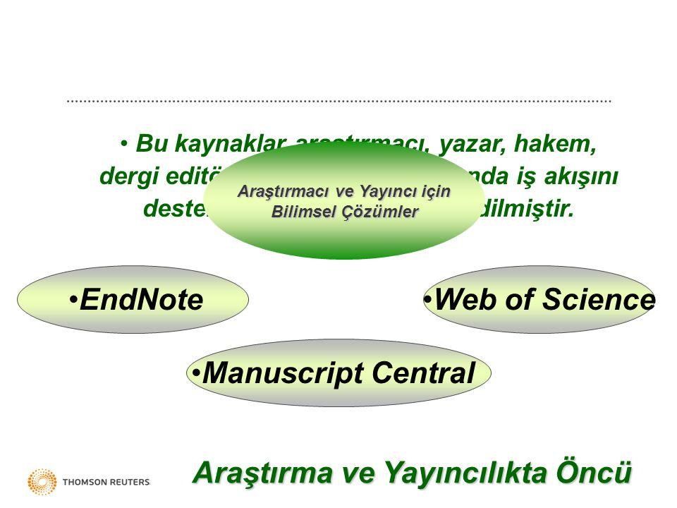 Bu kaynaklar araştırmacı, yazar, hakem, dergi editörü ve yayıncılar arasında iş akışını desteklemek üzere entegre edilmiştir.
