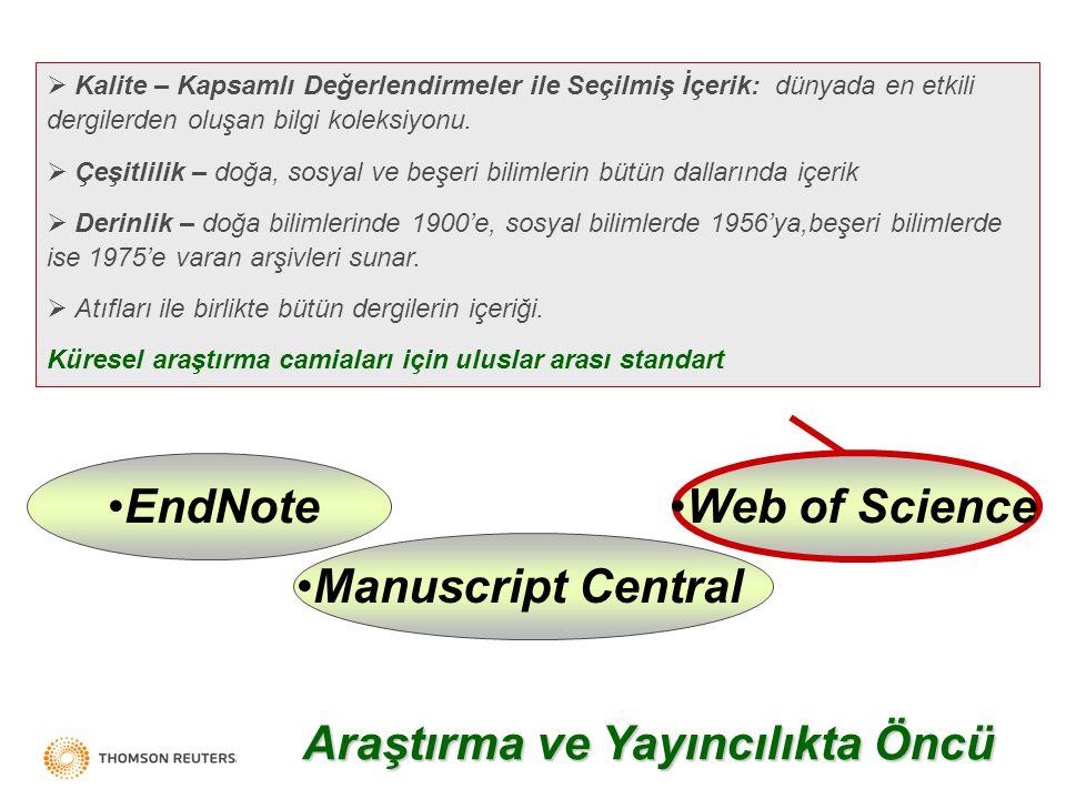 Thomson Scientific Web of Science EndNoteManuscript Central  Kalite – Kapsamlı Değerlendirmeler ile Seçilmiş İçerik: dünyada en etkili dergilerden oluşan bilgi koleksiyonu.
