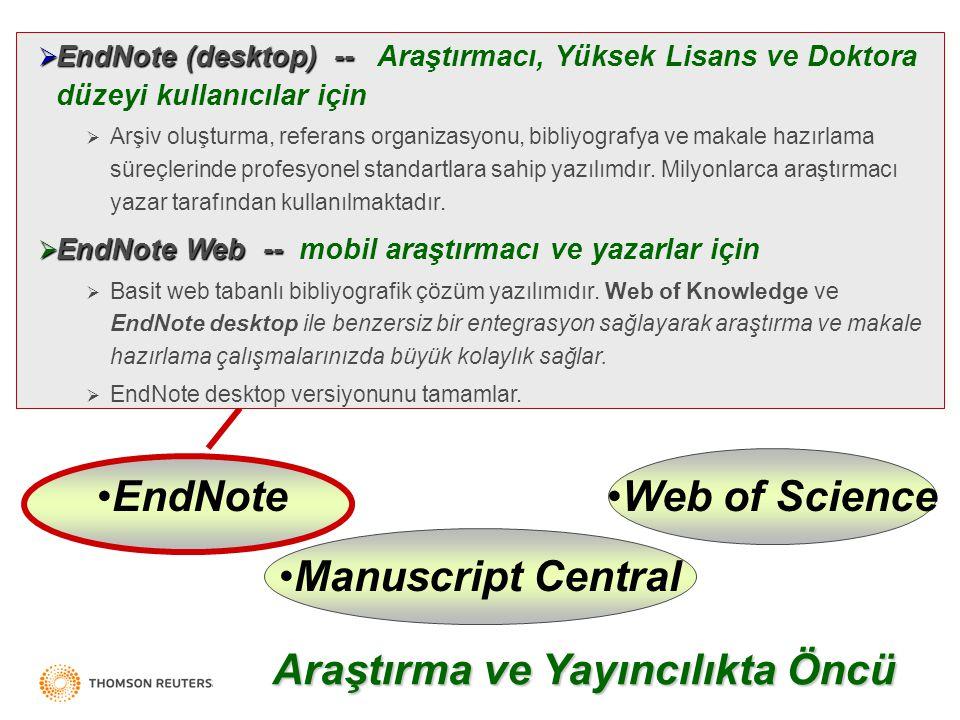 Thomson Scientific Web of ScienceEndNote Manuscript Central  EndNote (desktop) --  EndNote (desktop) -- Araştırmacı, Yüksek Lisans ve Doktora düzeyi kullanıcılar için  Arşiv oluşturma, referans organizasyonu, bibliyografya ve makale hazırlama süreçlerinde profesyonel standartlara sahip yazılımdır.