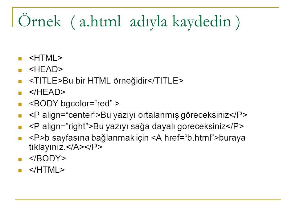 Örnek ( a.html adıyla kaydedin ) Bu bir HTML örneğidir Bu yazıyı ortalanmış göreceksiniz Bu yazıyı sağa dayalı göreceksiniz b sayfasına bağlanmak için
