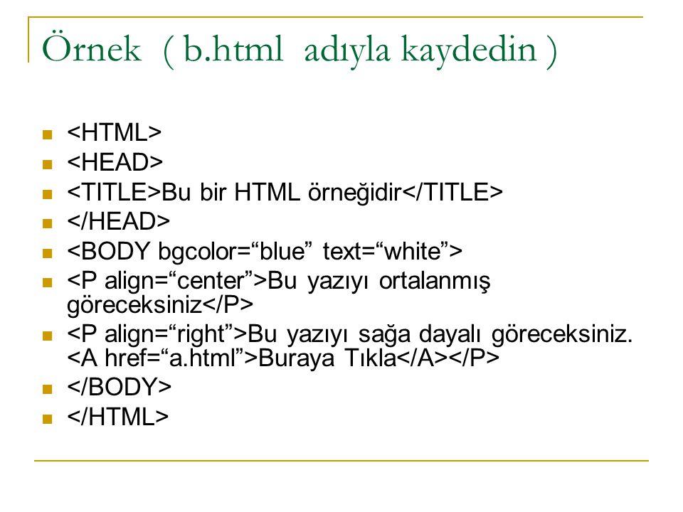 Örnek ( b.html adıyla kaydedin ) Bu bir HTML örneğidir Bu yazıyı ortalanmış göreceksiniz Bu yazıyı sağa dayalı göreceksiniz. Buraya Tıkla