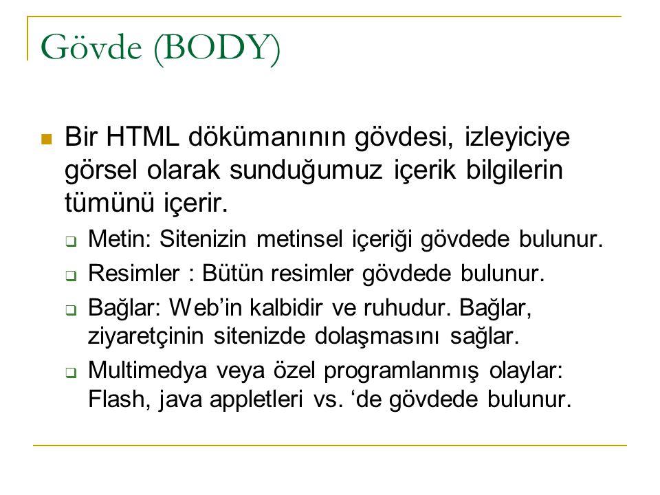 Gövde (BODY) Bir HTML dökümanının gövdesi, izleyiciye görsel olarak sunduğumuz içerik bilgilerin tümünü içerir.  Metin: Sitenizin metinsel içeriği gö