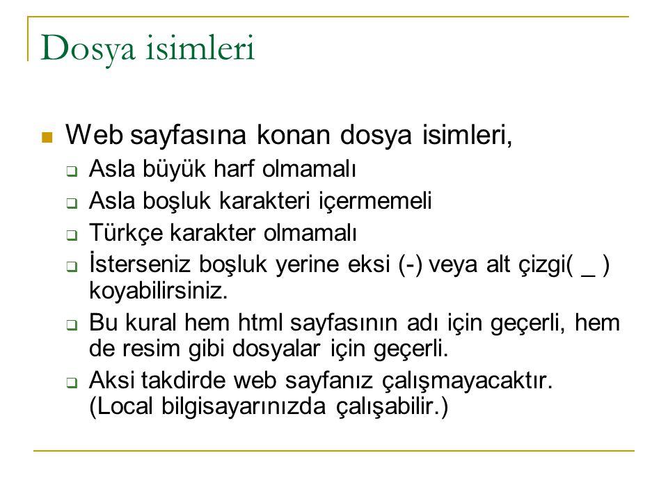 Dosya isimleri Web sayfasına konan dosya isimleri,  Asla büyük harf olmamalı  Asla boşluk karakteri içermemeli  Türkçe karakter olmamalı  İstersen