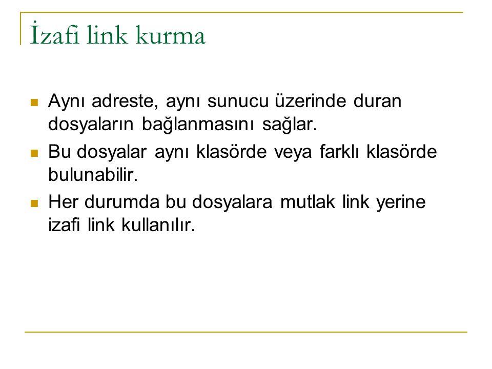 İzafi link kurma Aynı adreste, aynı sunucu üzerinde duran dosyaların bağlanmasını sağlar. Bu dosyalar aynı klasörde veya farklı klasörde bulunabilir.