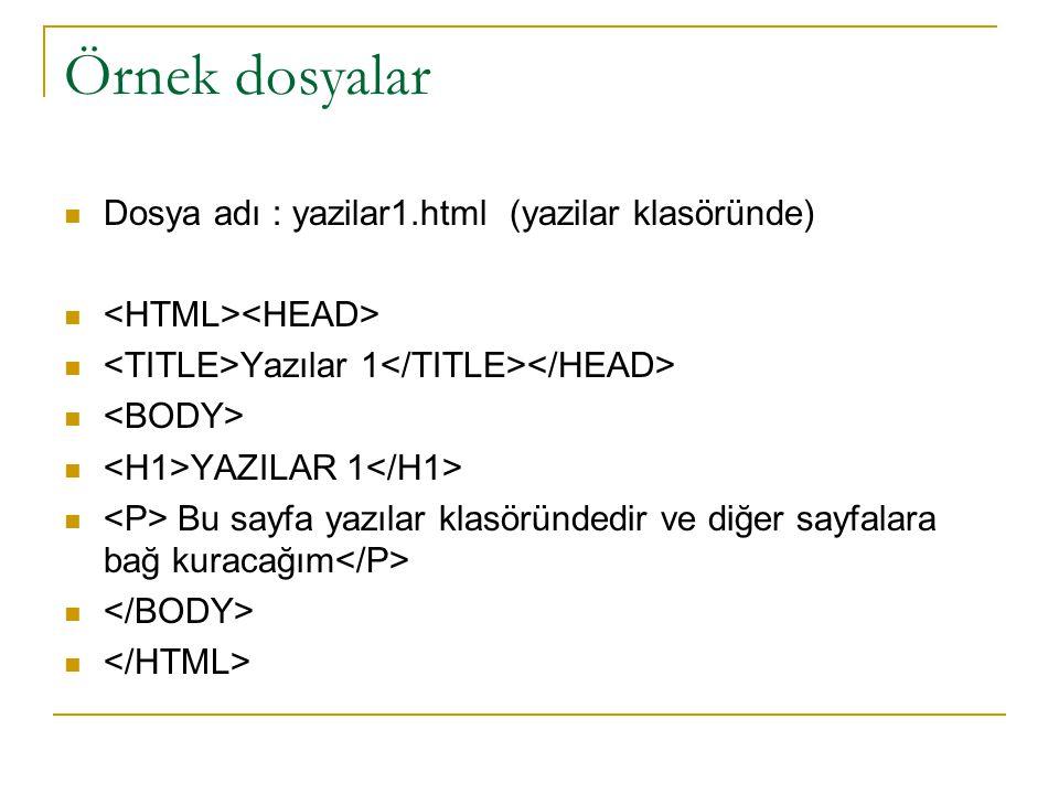 Örnek dosyalar Dosya adı : yazilar1.html (yazilar klasöründe) Yazılar 1 YAZILAR 1 Bu sayfa yazılar klasöründedir ve diğer sayfalara bağ kuracağım