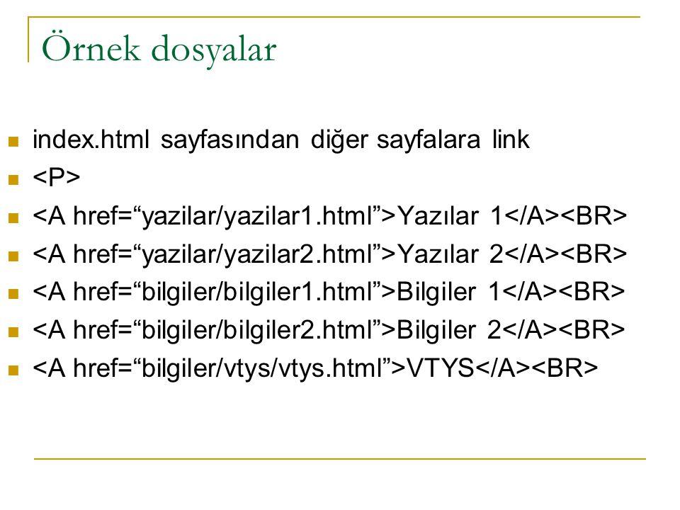 Örnek dosyalar index.html sayfasından diğer sayfalara link Yazılar 1 Yazılar 2 Bilgiler 1 Bilgiler 2 VTYS