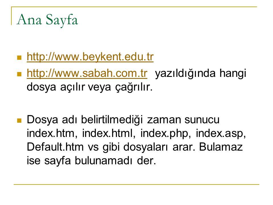 Ana Sayfa http://www.beykent.edu.tr http://www.sabah.com.tr yazıldığında hangi dosya açılır veya çağrılır. http://www.sabah.com.tr Dosya adı belirtilm