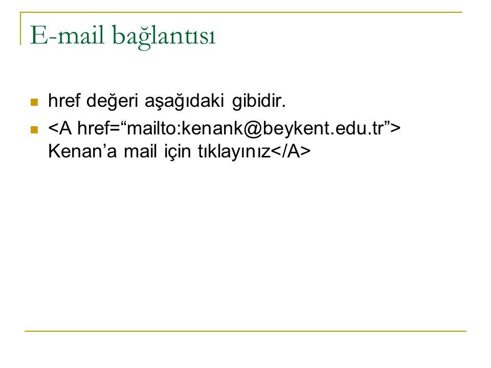 E-mail bağlantısı href değeri aşağıdaki gibidir. Kenan'a mail için tıklayınız