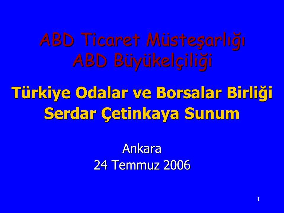 1 ABD Ticaret Müsteşarlığı ABD Büyükelçiliği Türkiye Odalar ve Borsalar Birliği Serdar Çetinkaya Sunum Ankara 24 Temmuz 2006