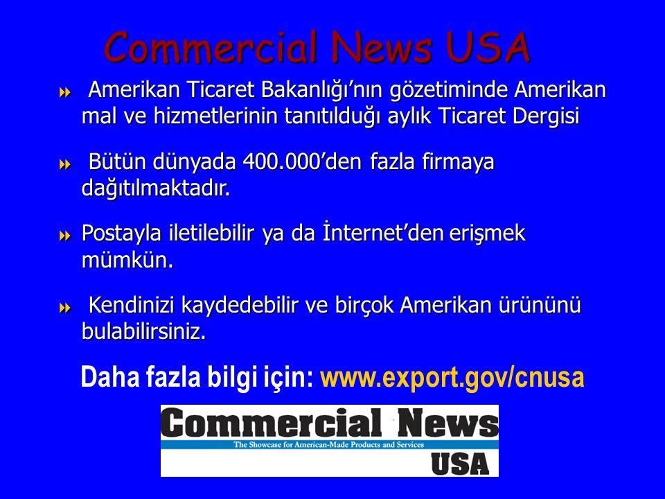  Amerikan Ticaret Bakanlığı'nın gözetiminde Amerikan mal ve hizmetlerinin tanıtılduğı aylık Ticaret Dergisi  Bütün dünyada 400.000'den fazla firmaya dağıtılmaktadır.
