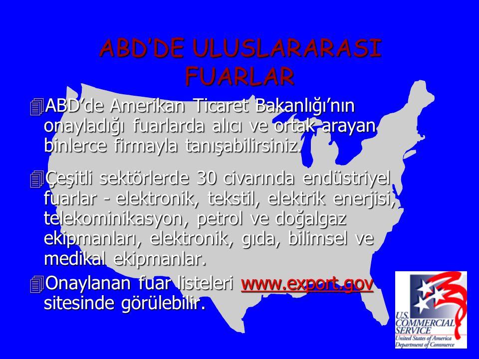ABD'DE ULUSLARARASI FUARLAR 4ABD'de Amerikan Ticaret Bakanlığı'nın onayladığı fuarlarda alıcı ve ortak arayan binlerce firmayla tanışabilirsiniz.