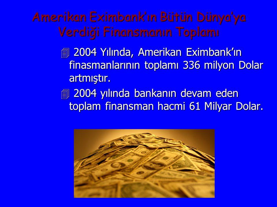 Amerikan Eximbank'ın Bütün Dünya'ya Verdiği Finansmanın Toplamı 4 2004 Yılında, Amerikan Eximbank'ın finasmanlarının toplamı 336 milyon Dolar artmıştır.