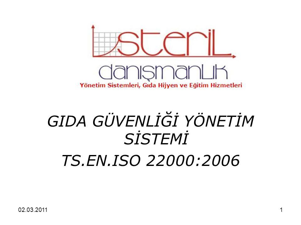 02.03.20111 GIDA GÜVENLİĞİ YÖNETİM SİSTEMİ TS.EN.ISO 22000:2006